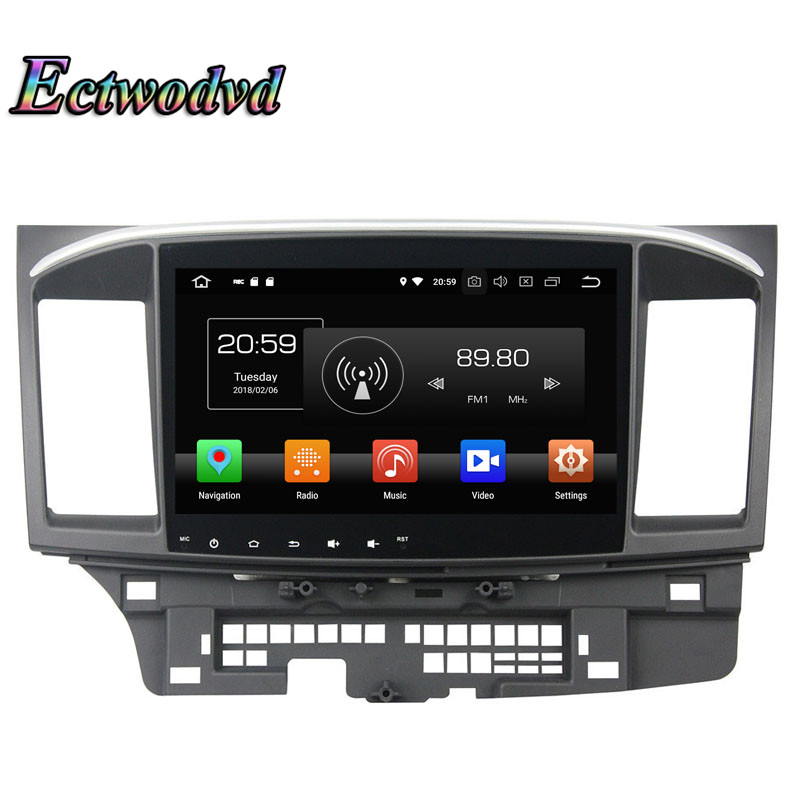 Ectwodvd Octa Core 4G Android 8.0Quad Core Android 8.1 Car Multimedia DVD Player for Mitsubishi Lancer 2015 Radio Tapes GPS