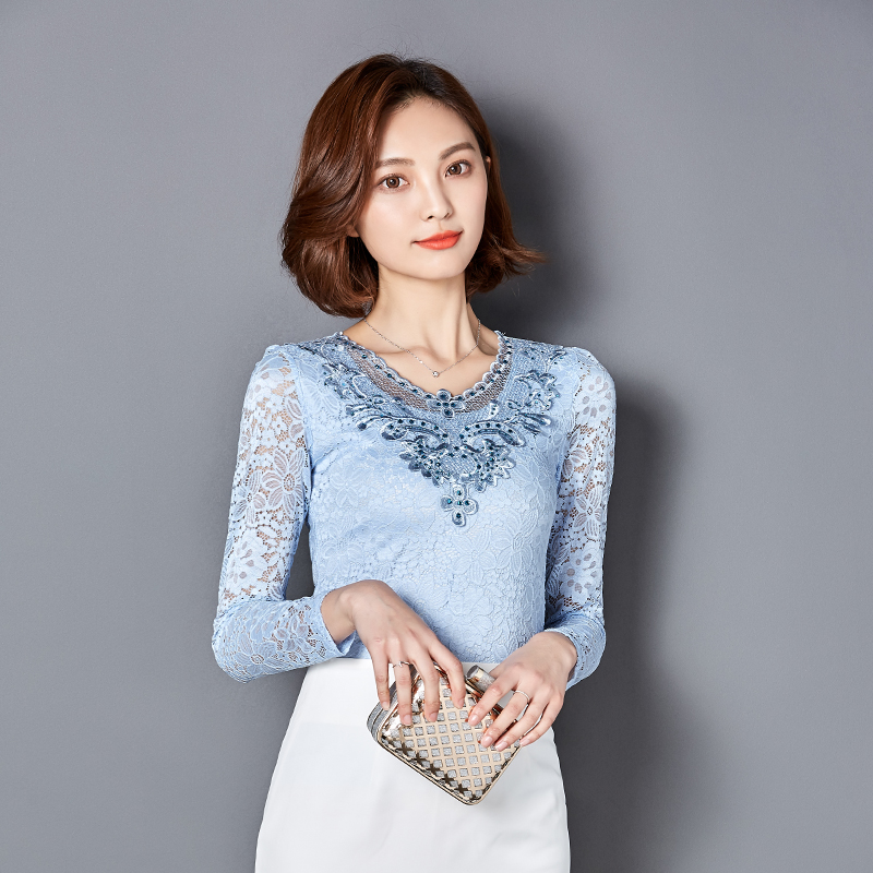 New Autumn Women blouses Solid color long-sleeved Diamonds lace tops Elegant Hollow women shirts plus size women tops Lace 918B