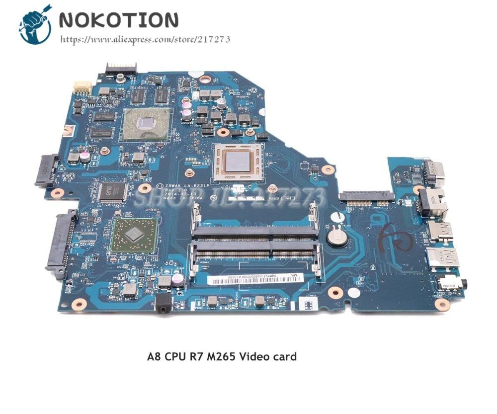 NOKOTION Para Acer aspire Laptop Motherboard DDR3 E5-551G R7 M265 A8 CPU Placa de Vídeo Z5WAK LA-B221P NBMLE11002 NB. MLE11.003