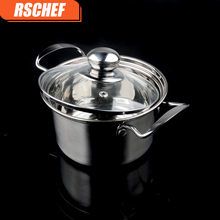 Diameter 16cm Thickened stainless steel Korean soup pot single-handle milk pan household double bottom non-stick cooker