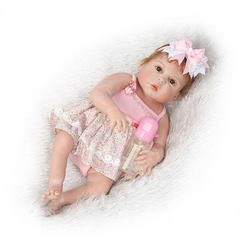 NPK 57cm Silicone Reborn Baby Awake Girl Simulated Cute Doll Fashion Kids Playmate Toys Reborn Dolls Babies for Gift
