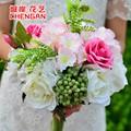 1 ramo ramos de novia de seda artificial flores de la boda de diy jardín decoración vivid rose fake hoja ikebana floricultura
