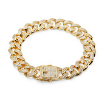 Golden Bling Jewelry Gifts hand Chains Hip Hop Women Men Crystal Bangles CZ Stone Steel Zircon Full Rhinestones Bracelets