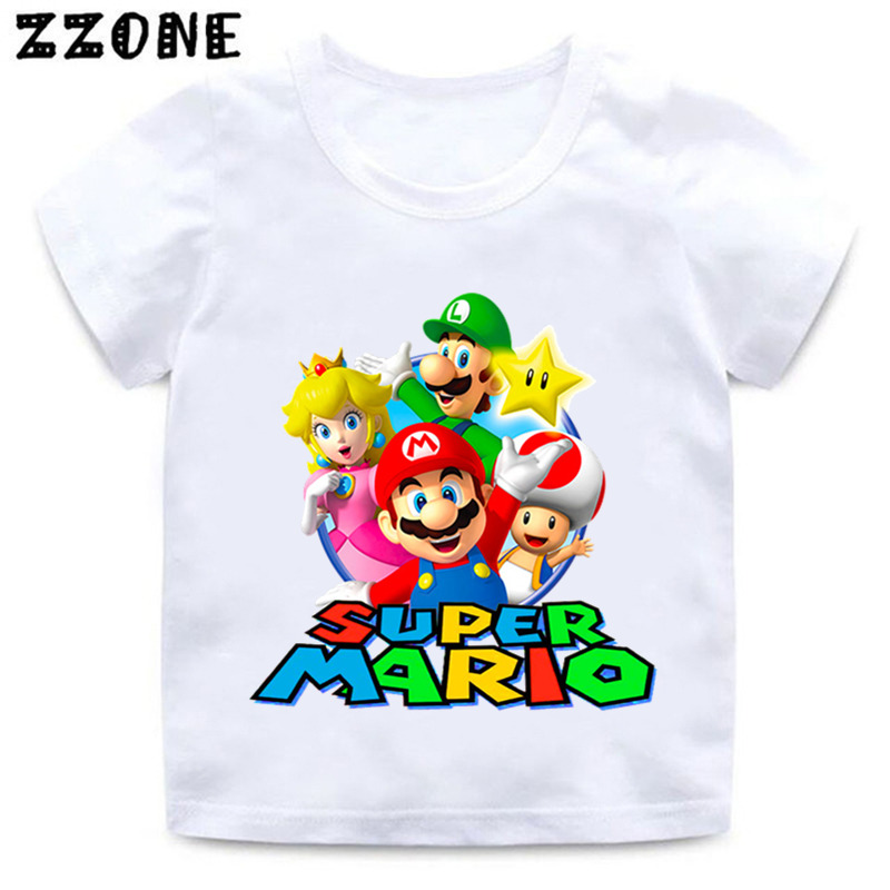 Boys And Girls Cartoon Mario Print T Shirt Kids Super Mario Bros Funny Clothes Baby Summer Short Sleeve White T-shirt,ooo5222