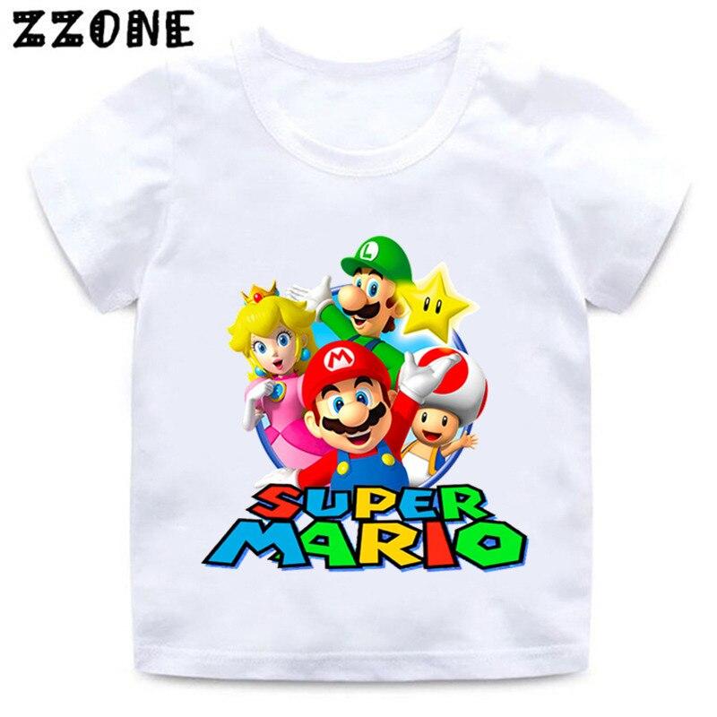 Boys And Girls Cartoon Mario Print T Shirt Kids Super Mario Bros Funny Clothes Baby Summer Short Sleeve White T-shirt,ooo5222