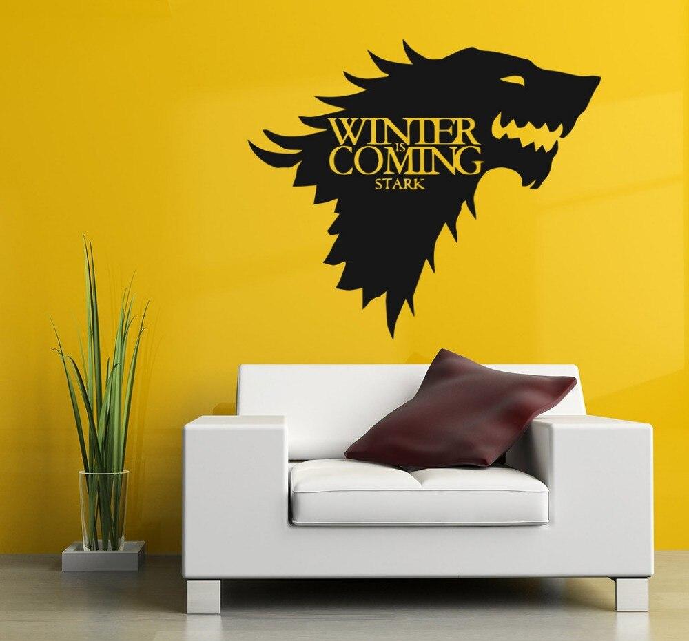웃 유Free Shipping Game of Thrones Wolf Wall Decal Stark Winter is ...