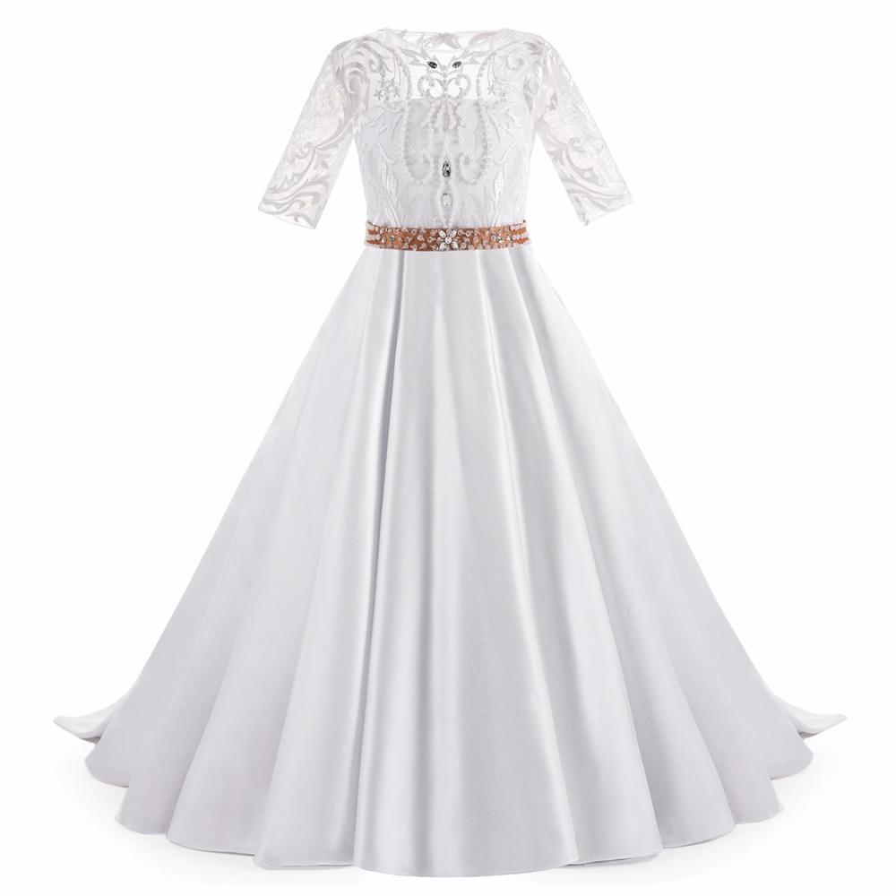 Walk Beside You White Half Sleeve Flower Girl Dresses Lace Satin