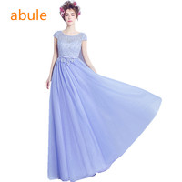 Abule 2017 Purple Long Evening Dresses O Neck Lace Pearls Beckless A Line Bride Party Prom
