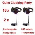 Silent Disco compete system black led wireless headphones - Quiet Clubbing Party Bundle (16 Headphones + 2 Transmitters)