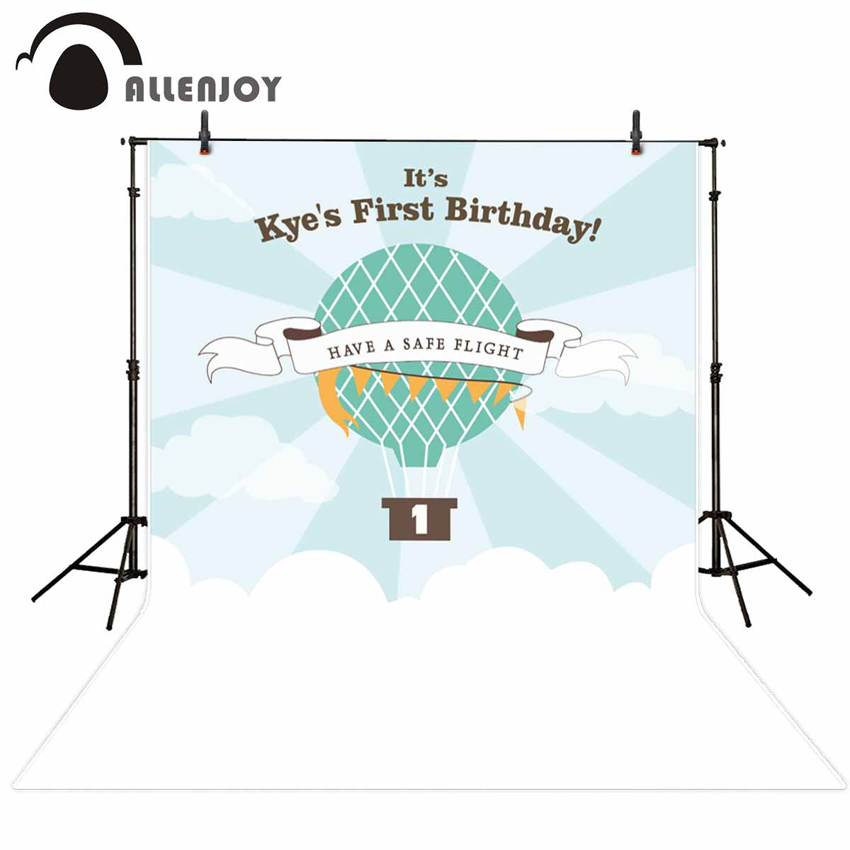 Allenjoy photography backdrops hot air balloon birthday backdrop for baby customize background for photographic studio creative simulaiton standing peacock toy polyethylene