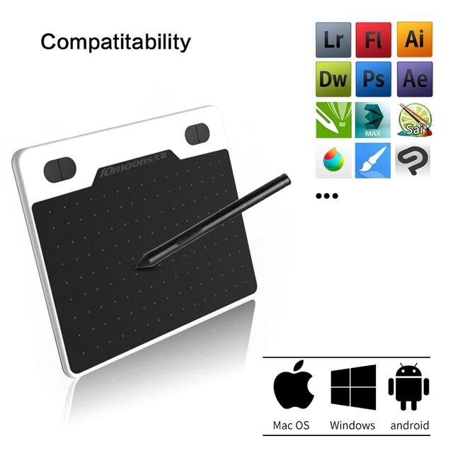 10 księżyce 6 Cal Ultralight tablet graficzny 8192 poziomów cyfrowy tablet do rysowania baterii-darmowy długopis kompatybilny urządzenie z androidem
