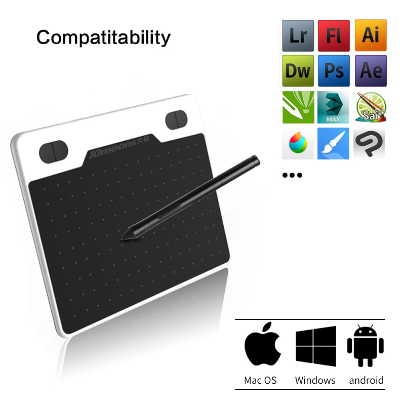 10moons 6 Inch Ultralight Graphic Tablet 8192 Levels Digital Drawing Tablet Battery-Free Pen Compatible Android Device 2