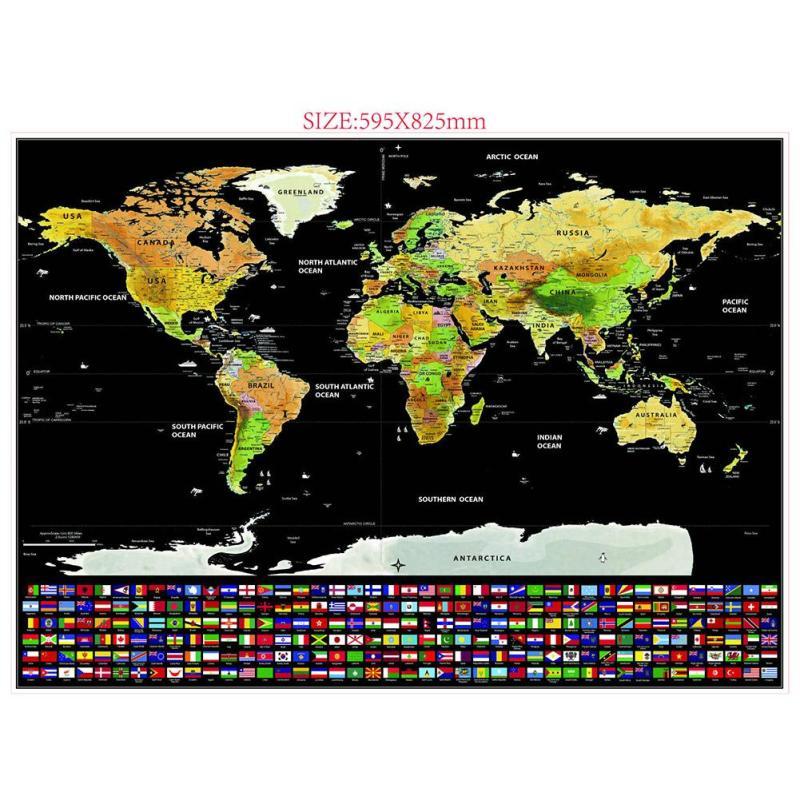 Graffiatura nero Deluxe Edition Mappa del mondo adesivi FAI DA TE per bambini Viaggi casa decorazione stickers World Map Scratch Map wall sticker A20