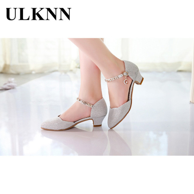 ULKNN Princess Girls Sandals Kids Shoes For Girls Dress Shoes Little High Heel Glitter Summer Party Wedding Sandal Children Shoe 5