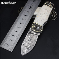 Stenzhorn 2017 New Survival Knife Swedish White Powder Damascus Folding Mini Self defense Key Ring With A Small Pocket Knives