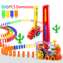 Put Up The Domino Game Toy Set Automatic Placement Domino Train Car with Light Sound Educational Building Blocks DIY Toy Gift
