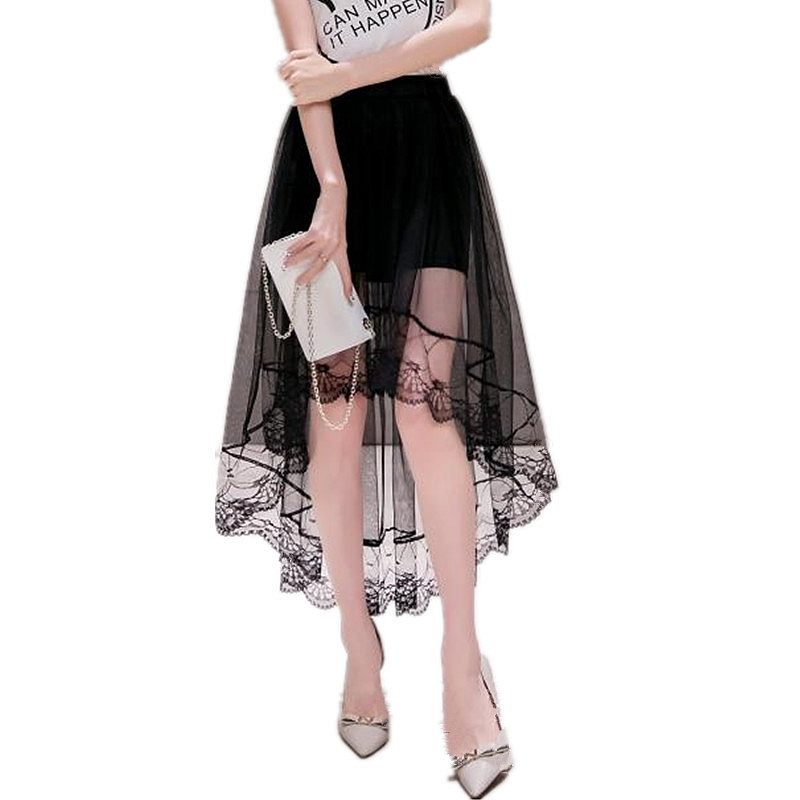 Women's Summer Irregular Skirt Swallowtail Skirt Casual Summer Net Yarn Fashion Women Skirts Large Lace Long Section Skirt 5SA56