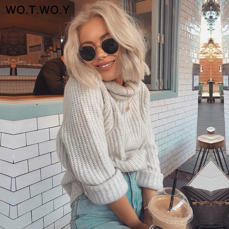 Pullovers Women Sweaters Jumper Cashmere Loose Long-Knitted WOTWOY Autumn Winter Female