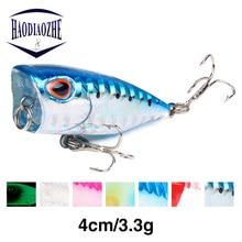Купить с кэшбэком HAODIAOZHE Hot Mini Popper Hard Bait Minnow Fishing Lure Crankbait Isca Wobbler Tackle Top Water Poper Floating Pike Lures YU117