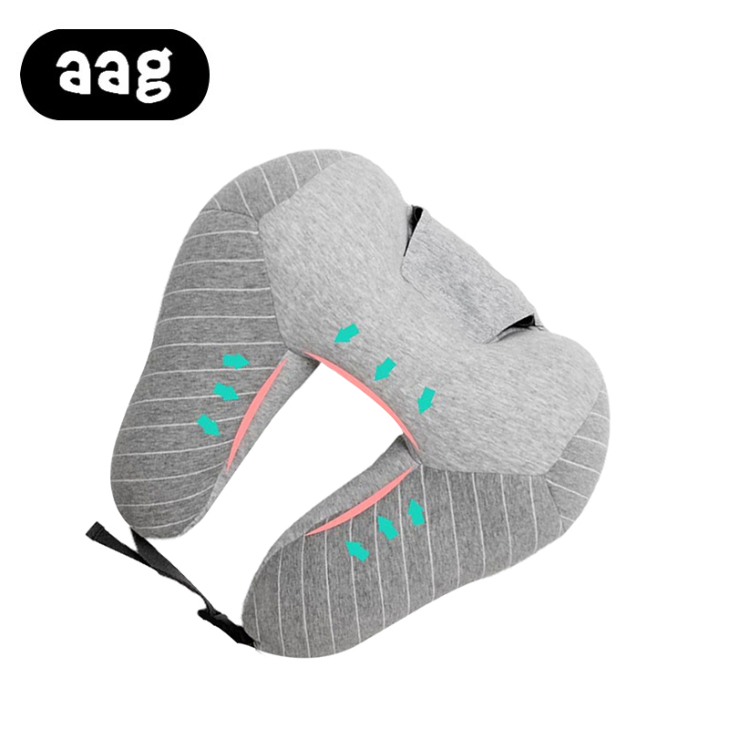 AAG Portable U shape Travel Pillow with Cap Multi function Soft Hooded Pillow Home Airplane Car Travel Nap Neck Headrest Pillow