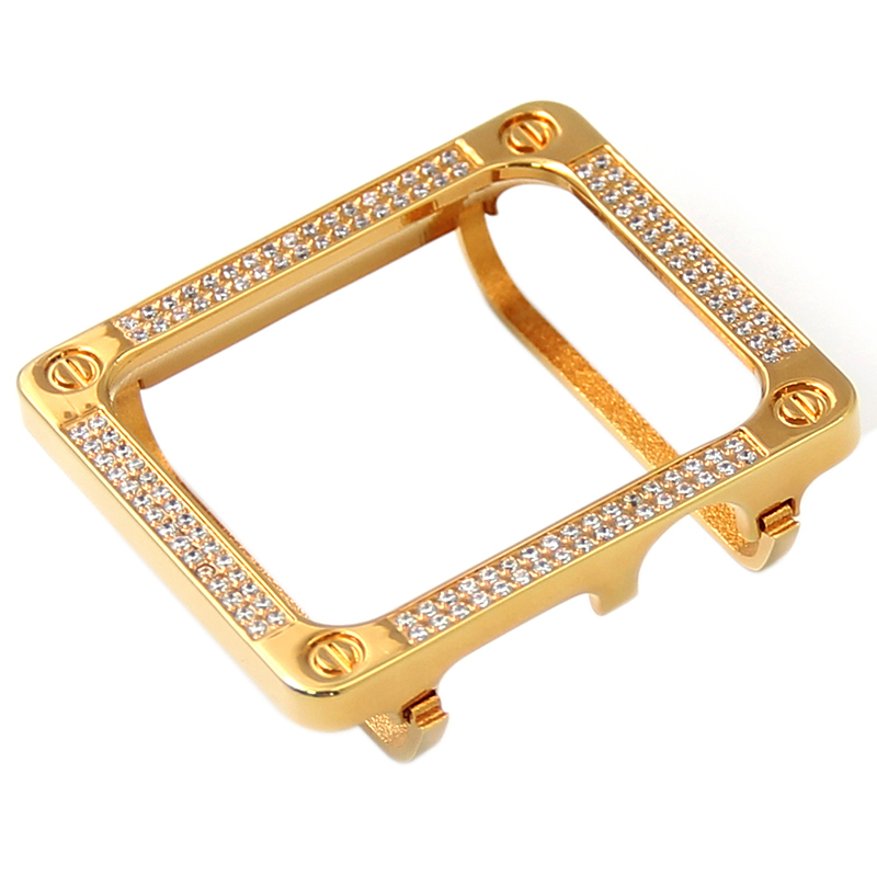 Diamond cover for watch case gold aluminium alloy cover for apple watch 38mm 42mm
