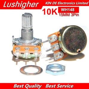 5 pces 10 k ohm wh148 3pin b10k potenciômetro 15mm eixo com arruelas porcas