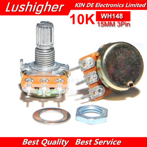 5PCS 10K Ohm WH148 3pin B10K Potentiometer 15mm Shaft With Nuts Washers
