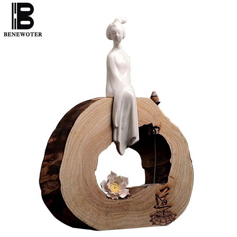 Čínská domácí výzdoba keramický guanyin buddha postava Dharma ozdoba s dřevěnou kadidlovou základnou zvětralé dřevo zpětné kadidlo hořák