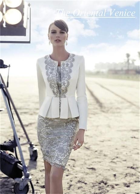Lindo Two Pieces curto mãe da noiva vestidos com Jacket mangas compridas alta Quanlity mãe vestido de terno para casamentos