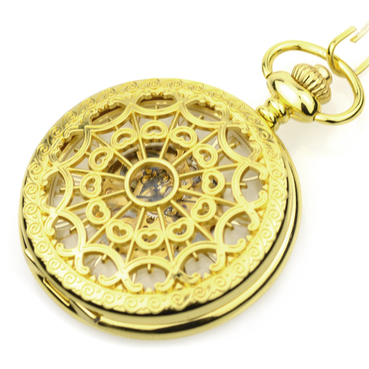 Relógio de Mão Relógio de Bolso Ouro Luxo Esqueleto Bolso Mecânica Vento & Fob Relógios Pingente Feminino Aranha Web Design