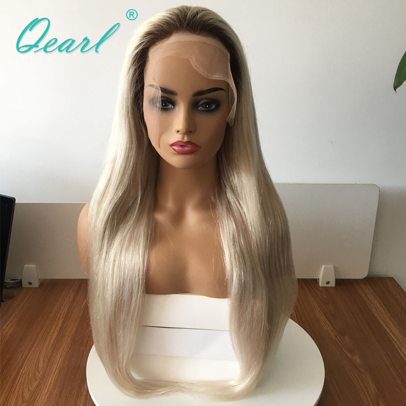 Ash Blonde Ombre 4 60 Human Hair Full Lace Wig Small Cap Size Straight Wigs Brazilian Remy Hair Ponytail Bun 150 Density Qearl in Human Hair Lace Wigs from Hair Extensions Wigs