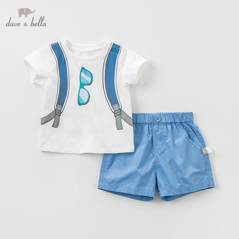 DB10509 Dave bella summer baby boys clothing sets fashion children cartoon suits infant high quality clothes boys outfit