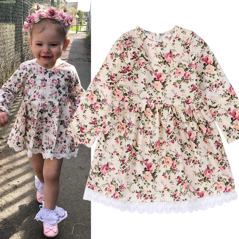 Cute Floral Printed Baby Girls Dresses Spring Autumn Long Sleeve Princess Dress Casual Costume Kids Clothes Tutu VestidosCute Floral Printed Baby Girls Dresses Spring Autumn Long Sleeve Princess Dress Casual Costume Kids Clothes Tutu Vestidos
