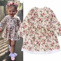 Cute Floral Printed Baby Girls Dresses Spring Autumn Long Sleeve Princess Dress Casual Costume Kids Clothes Tutu Vestidos