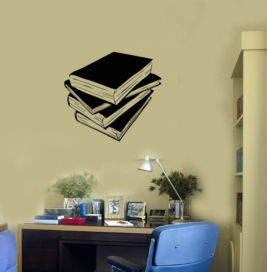 Us 5 91 30 Off Pile Of Books Vinyl Wall Decal Library Reading Corner Decor Room School Stickers Kids Bedroom Home Decoration Mural G176 In