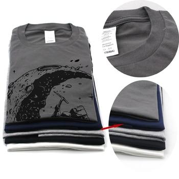 100% cotton digging the moon print casual mens o-neck t shirts fashion men's tops men T-shirt short sleeve men tshirt 2017 1