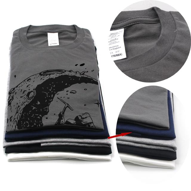 100% cotton digging the moon print casual mens o-neck t shirts fashion men's tops men T-shirt short sleeve men tshirt 2017
