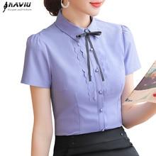 Elegant Women Shirt 2019 New Summer Short Sleeve Slim Bow Tie Chiffon Blouse Office Ladies Formal Work Temperament Tops
