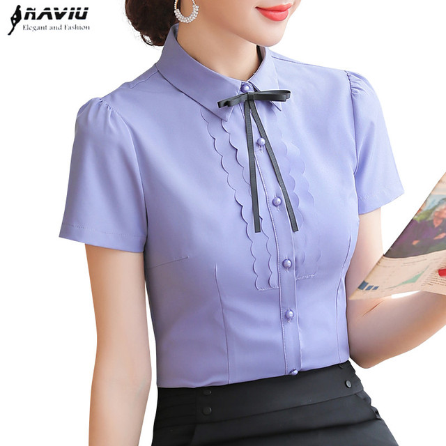 Elegant Women Shirt 2019 New Summer Short Sleeve Slim Bow Tie Chiffon Blouse Office Ladies Formal Work Temperament Tops