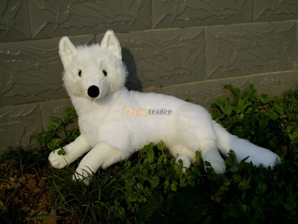 Fancytrader Hot Item! 22'' / 55cm Giant Cute Stuffed Soft Soft Plush White Emulational Fox Toy, Nice Gift, Free Shipping FT50600 fancytrader real pictures 39 100cm giant stuffed cute soft plush monkey nice baby gift free shipping ft50572