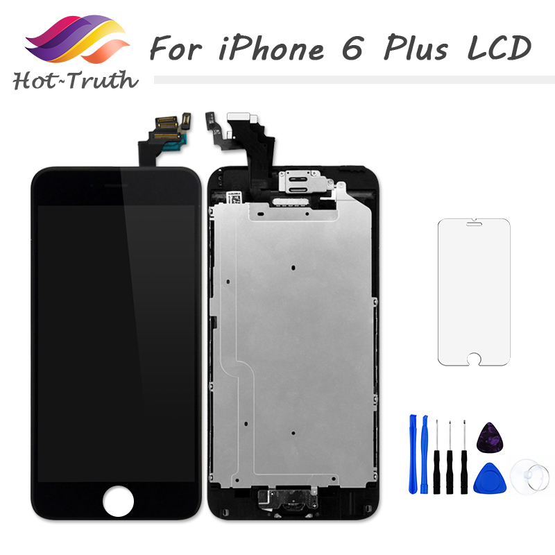 Hot-Truth 100PCS Factory On Sale For iPhone 6 Plus LCD Display Touch Screen Digitizer Assembly Home Button+Front Camera+Earpiece