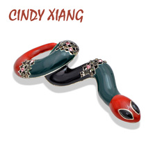 CINDY XIANG 3 Colors Choose Enamel Large Snake Brooches for Women Spring Design Fashion Animal Pins High Quality Creative Gift