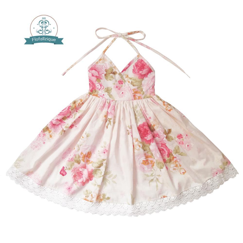 Flofallzique   Flower     Girl     Dress   2018 Summer Rose Floral Print Design for Toddler Clothes Backless Wedding Party Princess   Dresses