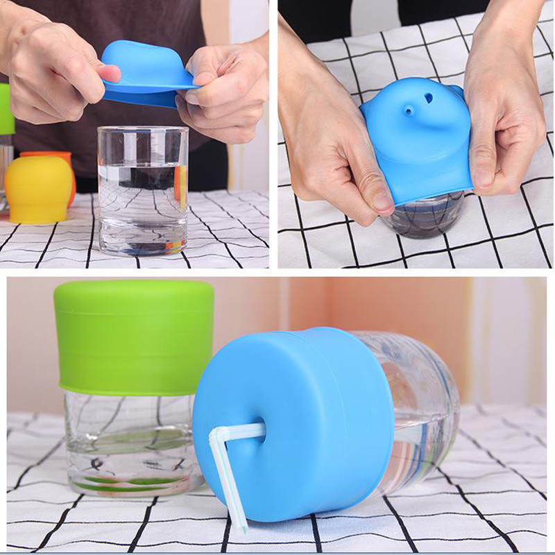 Leakproof Kids Cup Cover Stretchable Silicone Lids Spillproof Baby Training Drinking Glass Cup Lid Child Drinking Straw Lid
