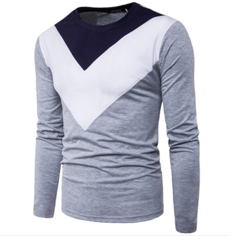 Personalized color matching contrast triangle stitching men's casual long sleeve Tshirt fashion tshirts mens clothing male