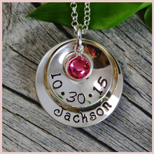 StrollGirl 925 Sterling Silver New Mom Necklace Personalized Hand Stamped Jewelry One Name Birthstone and Birthday For