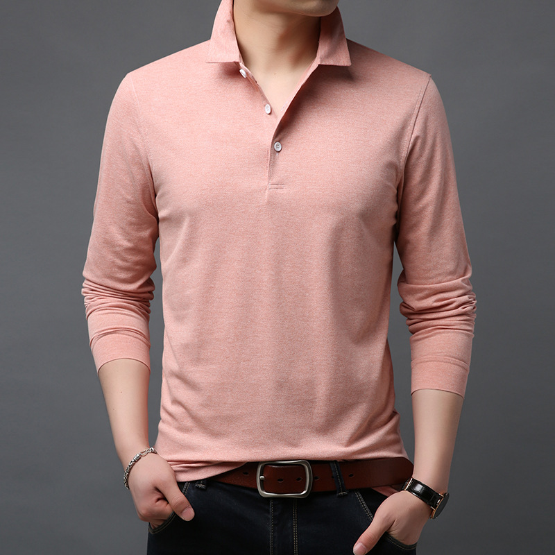 ICPANS 100 Cotton Polo Shirts Men Slim Fit Long Sleeve Polo Homme High Quality Camisas Solid Summer Stand Collar Male Casual