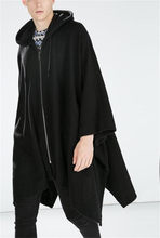 Male Cloak Cloak Hooded Windbreaker Long Bat Jacket Korean Version of The Large Size Personality Cardigan Gothic Windbreaker(China)