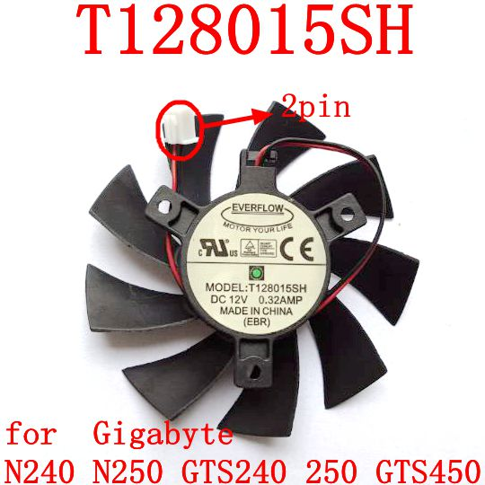 Free Shipping T128015SH 40mmx40mmxmm 2pin for Gigabyte N240 N250 GTS240 250 GTS450 for EVGA GTX650 <font><b>GTX650TI</b></font> graphics card fan image