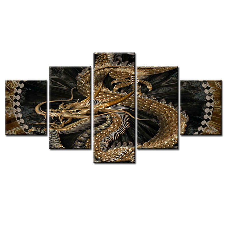 5panel frame Movie Poster Dragon canvas wall painting art home decoration living room printing modern painting/11Y-ZT-98